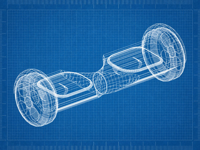 Blueprint showing the inside of a hoverboard