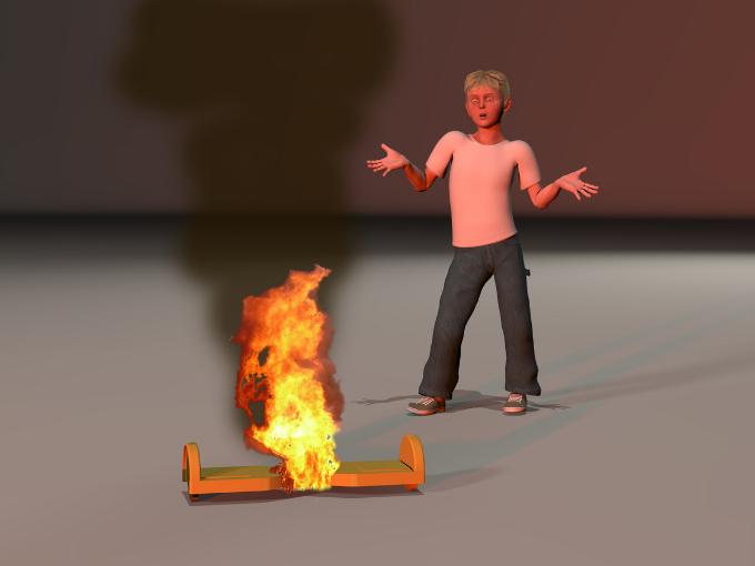 An hoverboard catching on fire