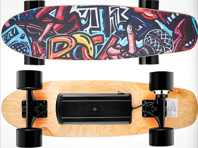 Front and back of a Wookrays electric skateboard